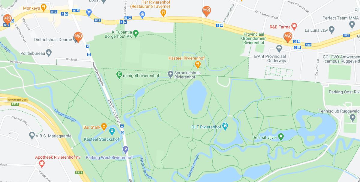 Rivierenhof Antwerpen kaart